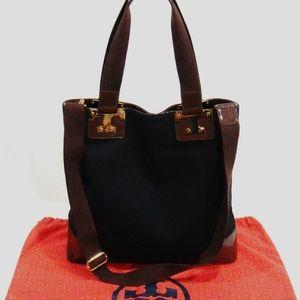 TORY BURCH NICO CANVAS TOTE SHOULDER BAG BLACK XL